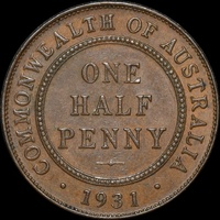 1931 Halfpenny Extremely Fine