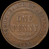 1932 Penny Clipped Planchet good VF