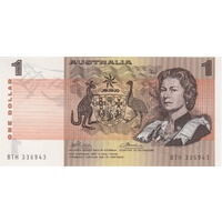 1974 $1 Note Australia Phillips/Wheeler R75 Uncirculated